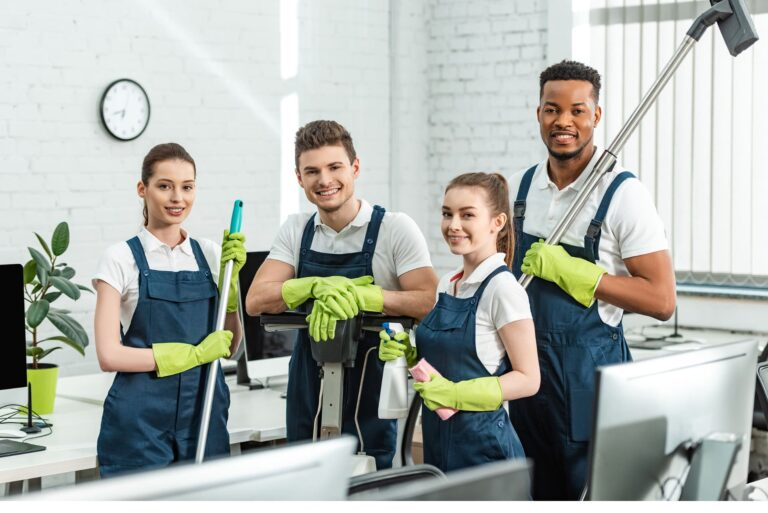 Cleaning crew looking happy