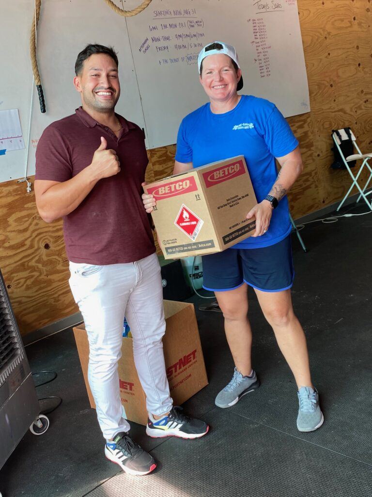 Kevin Garcia - Dropping off Hand Sanitizer at the Stayin' Alive Cleaning Supply Drive